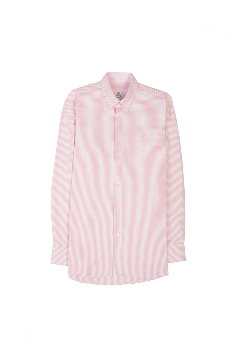 COTTON OXFORD SHIRT IN PINK STRIPES