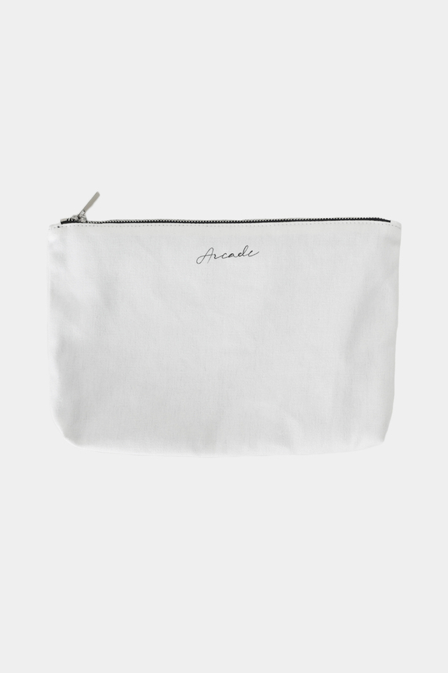 ARCADE SCRIPT LOGO CANVAS POUCH IN WHITE