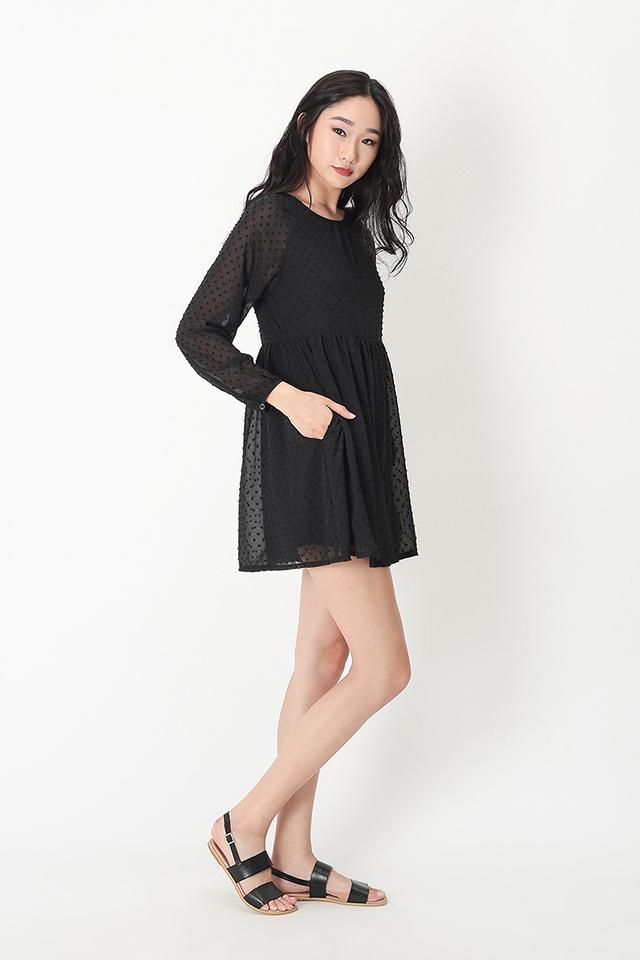 LORRAINE BABYDOLL ROMPER DRESS IN BLACK