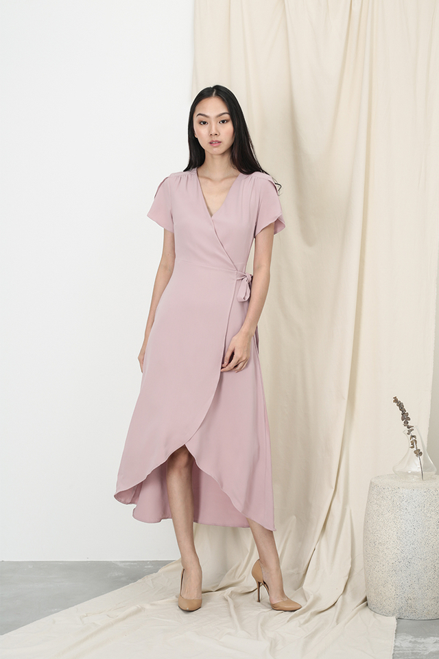 KATE OVERLAP WRAP DRESS IN DUSTY PINK