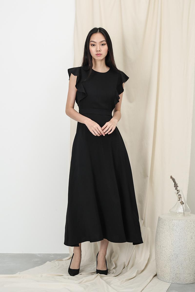 ANNE FLUTTER SLEEVE DRESS IN BLACK