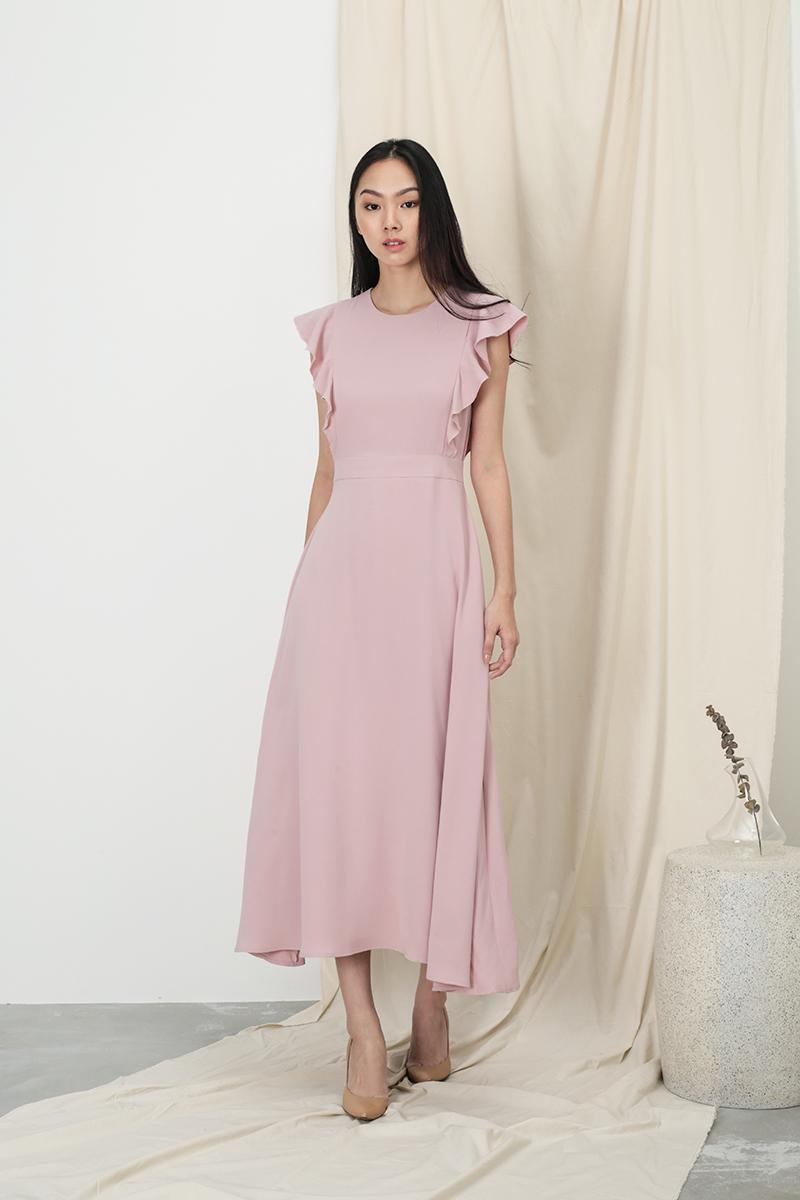 ANNE FLUTTER SLEEVE DRESS IN DUSTY PINK