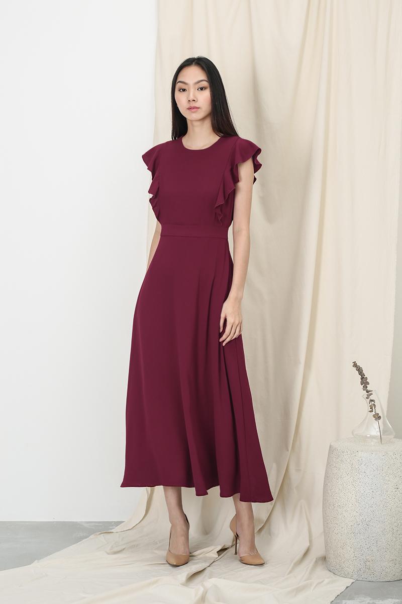ANNE FLUTTER SLEEVE DRESS IN WINE