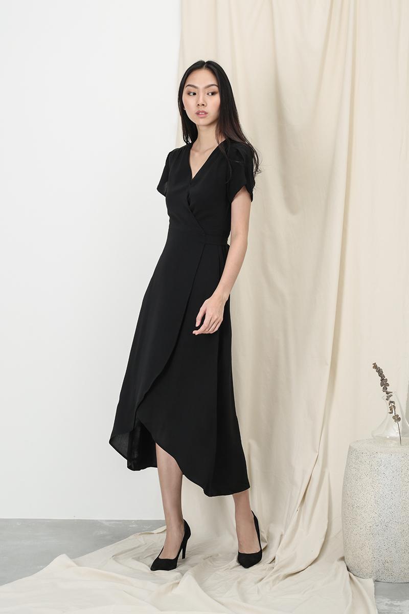 KATE OVERLAP WRAP DRESS IN BLACK