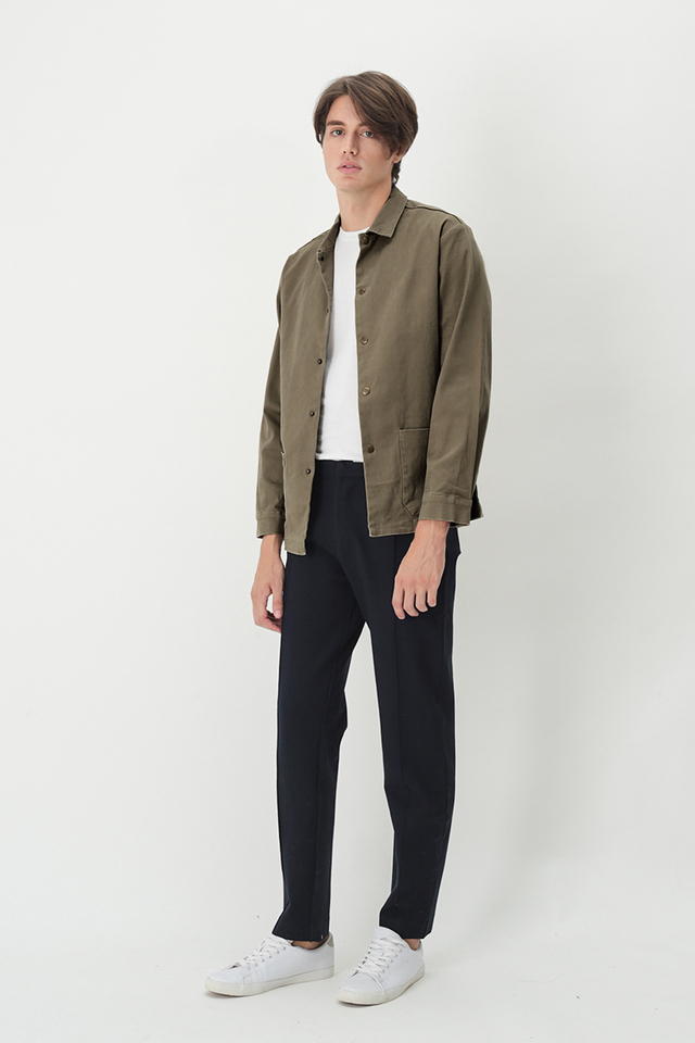 MORRIE PATCH POCKET SHIRT JACKET IN TAUPE