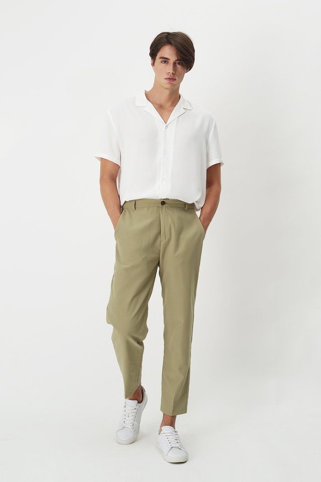 BROWNE TAPERED-FIT TROUSERS IN BIRCH
