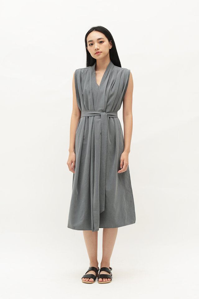 ARCADE x ELKANTLERS WRAP DRESS IN GREY