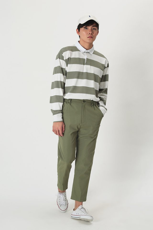 CHACE ELASTIC WAIST TROUSERS IN MOSS