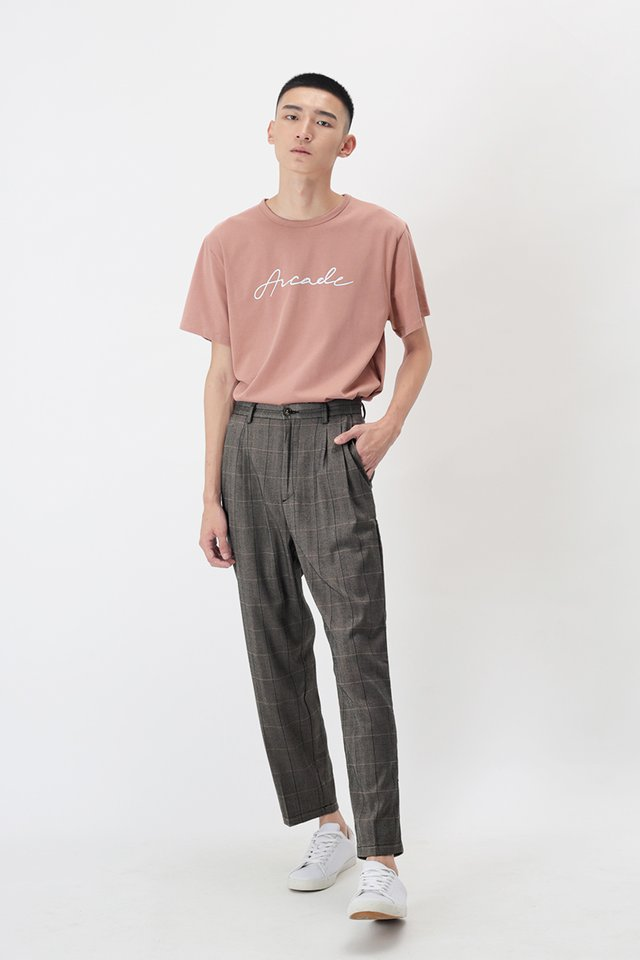 PORTER DOUBLE PLEATED CHECKED TROUSERS IN GREY