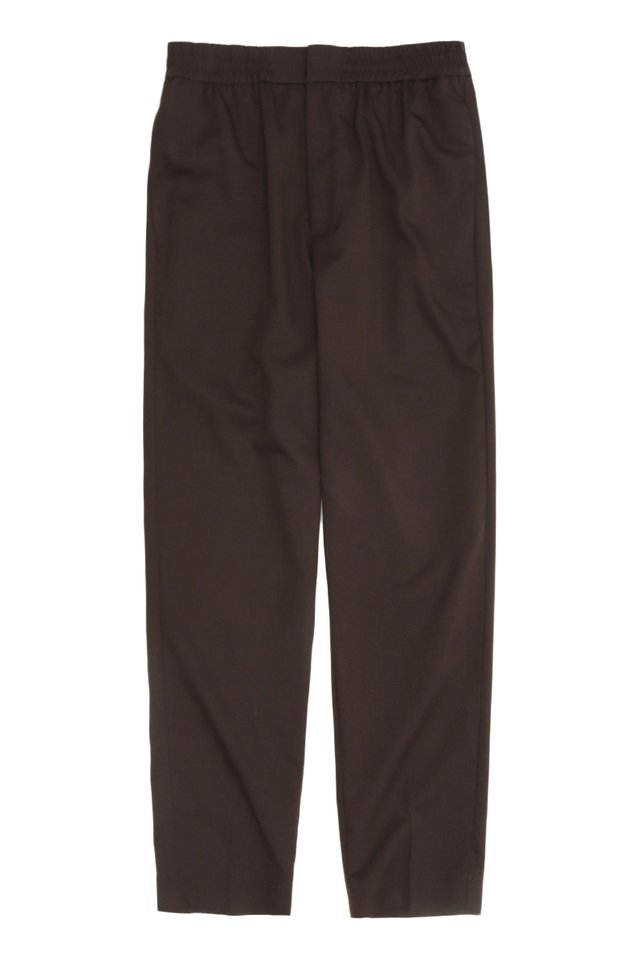 GRAYSON SLIM-FIT ELASTIC WAIST TROUSERS IN DARK BROWN