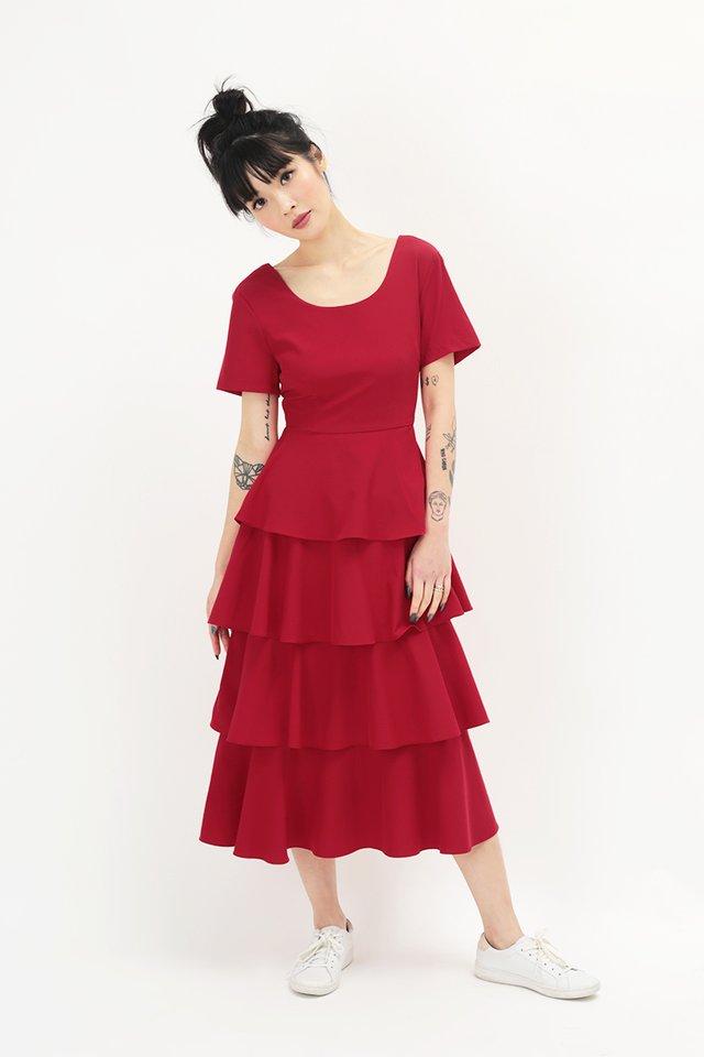 LAURETTE TIER DRESS IN AURORA RED