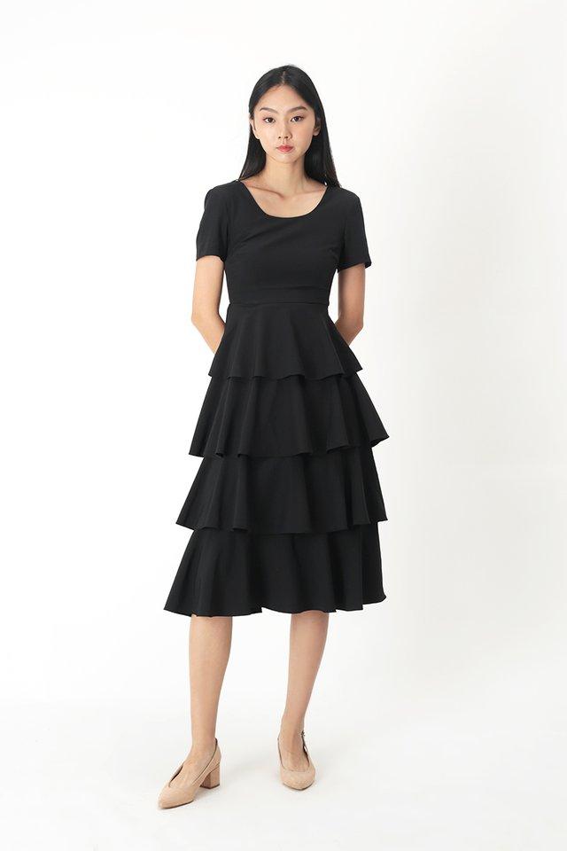 LAURETTE TIER DRESS IN BLACK