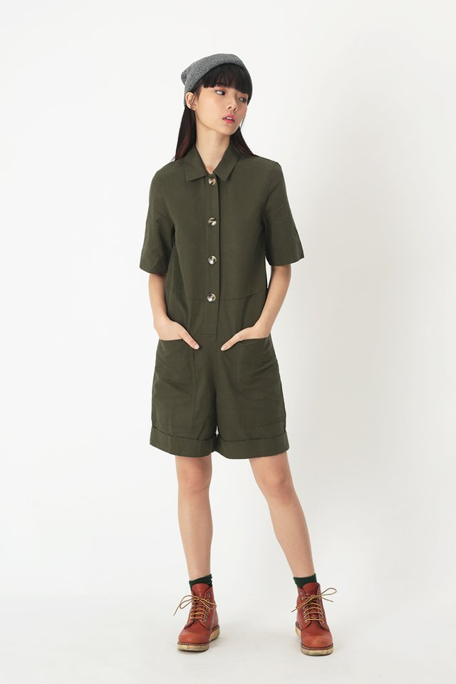 BROOKLYN UTILITY ROMPER IN OLIVE