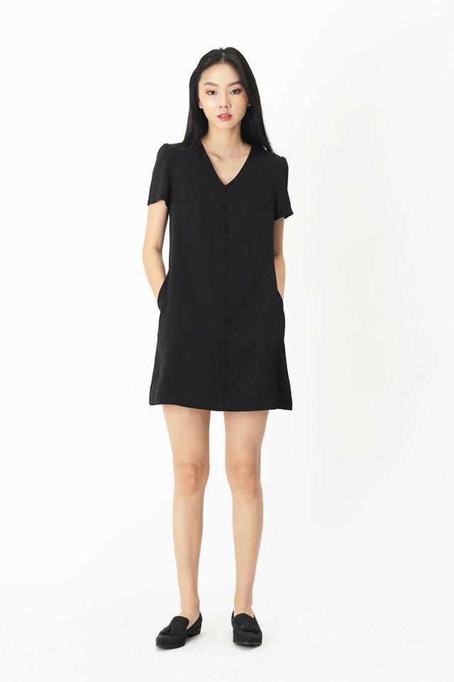 HANI BUTTON DRESS IN BLACK