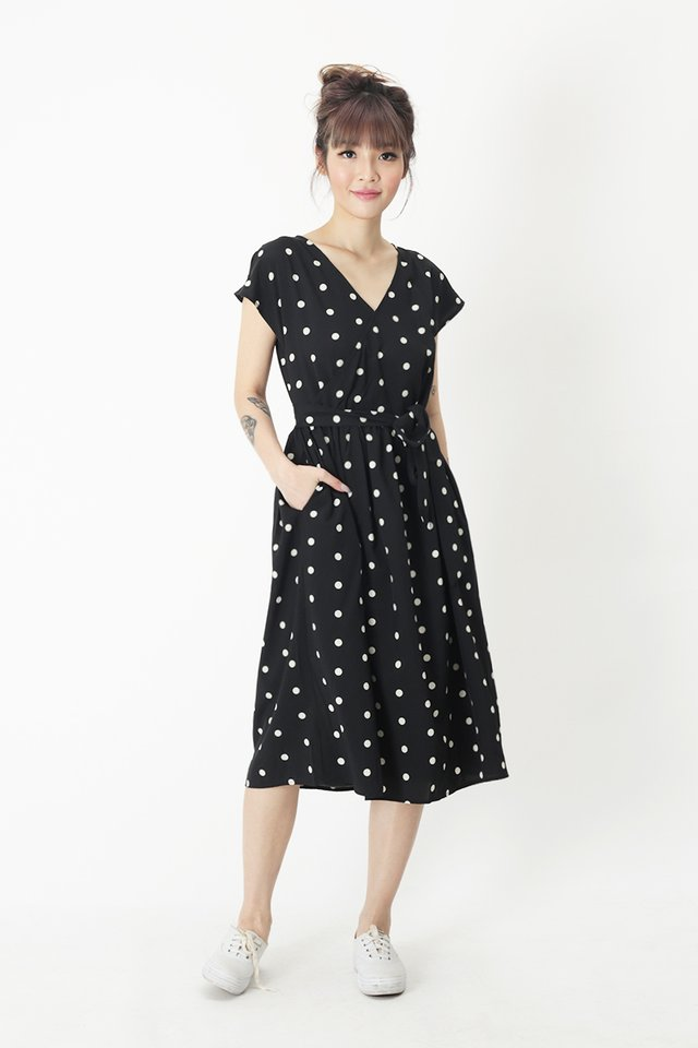 JANELLA POLKADOT DRESS IN BLACK