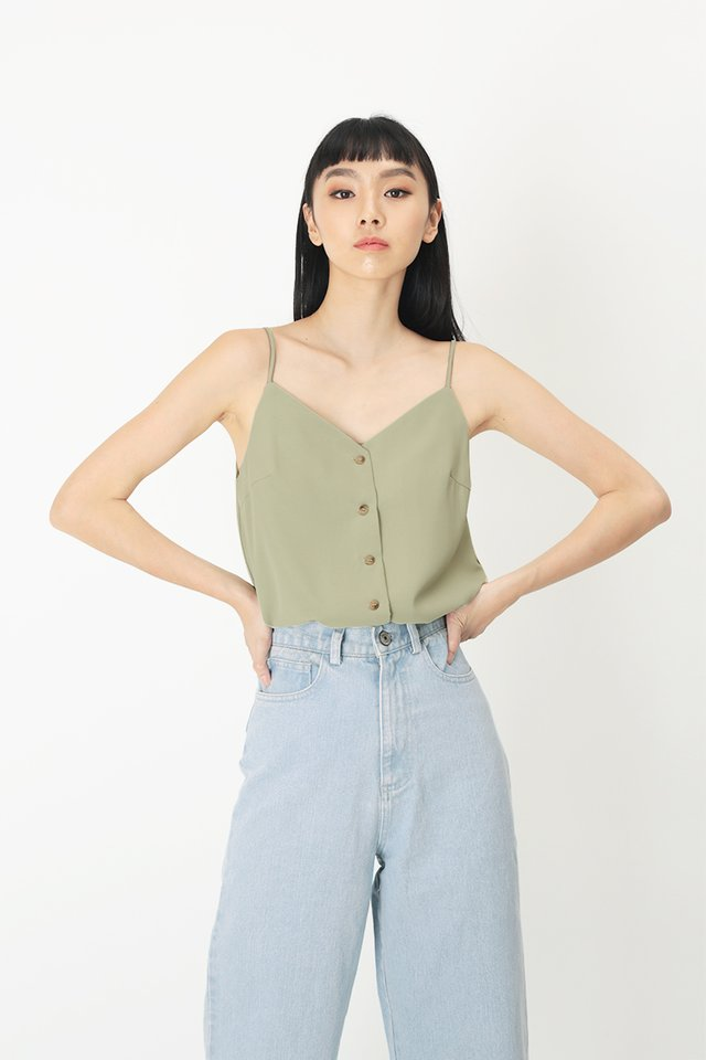 LEILA BUTTON SPAG TOP IN SAGE