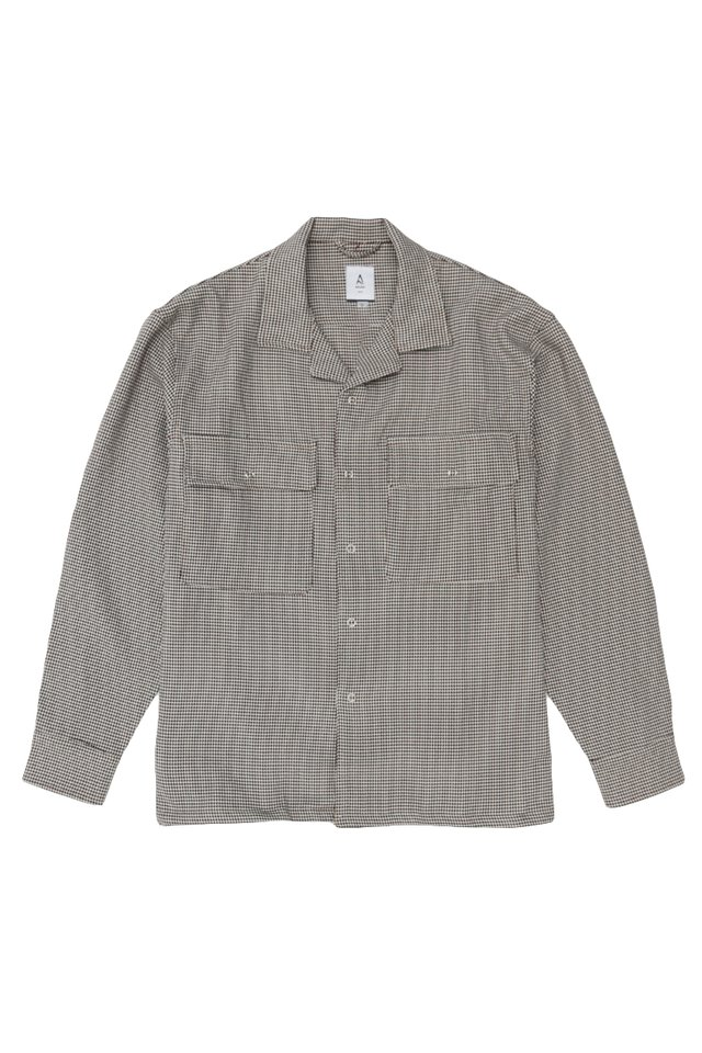 LINUS HOUNDSTOOTH OVERSHIRT IN SAND