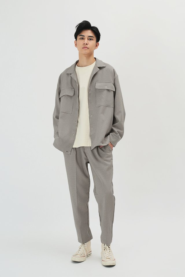 LOWRY RELAXED-FIT HOUNDSTOOTH TROUSERS IN SAND
