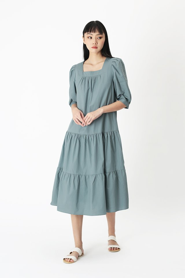 THERESE TIER DRESS IN DUSK BLUE
