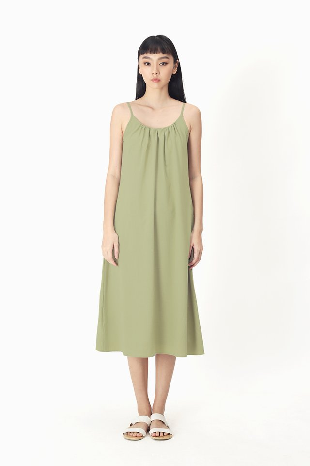 YVES SPAG MIDI DRESS IN MOSS GREEN