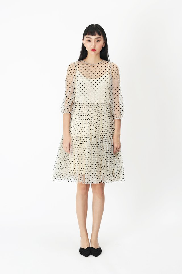 MEREDITH POLKADOT TULLE DRESS IN CREAM