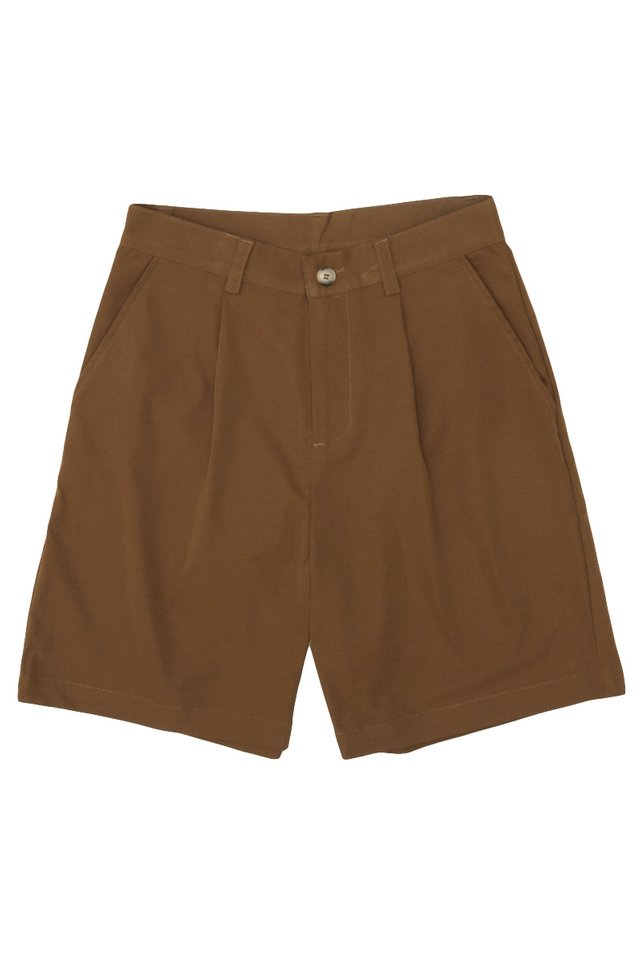 EDISON PLEATED SHORTS IN COFFEE