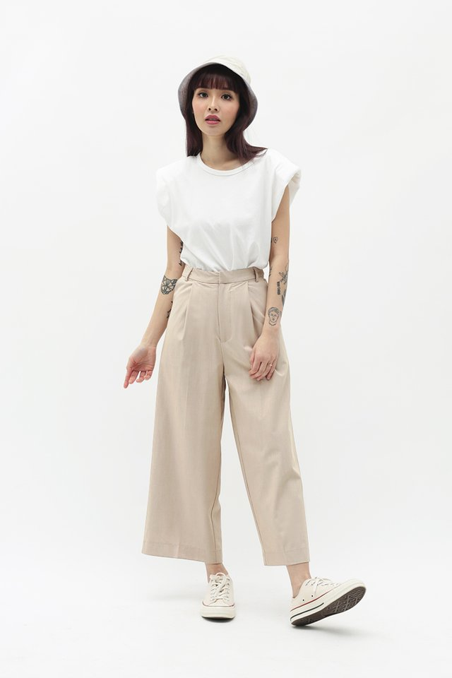 CERISE PLEATED CULOTTES IN BISQUE
