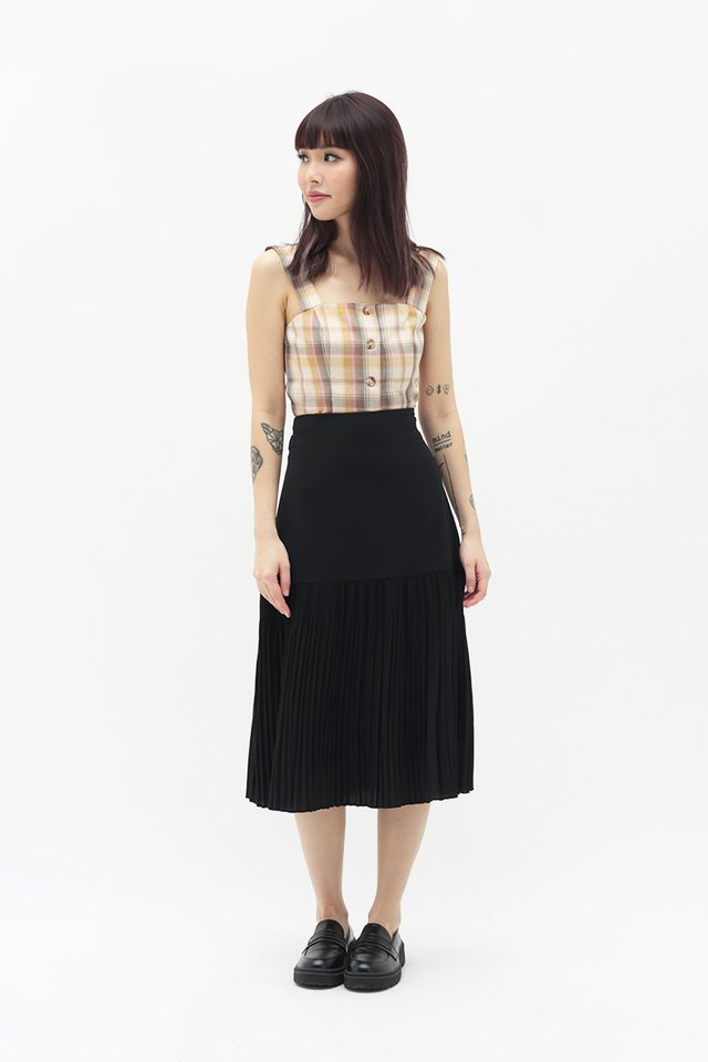ROCHELLE DROP HEM SKIRT IN BLACK