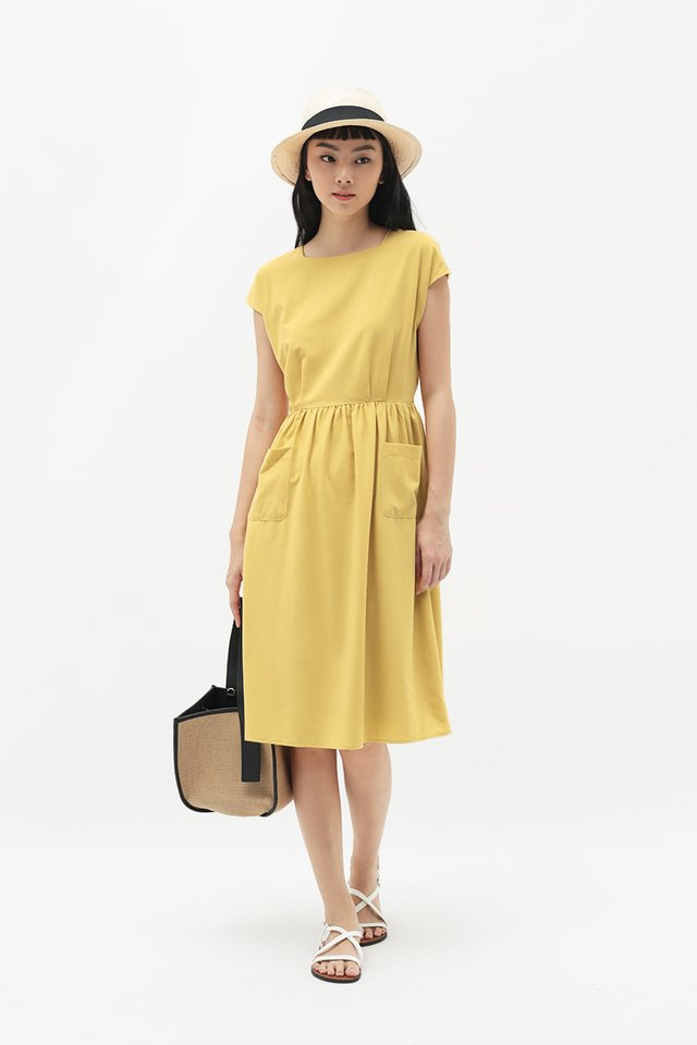 SHELBY PATCH POCKET DRESS IN BUTTERCUP