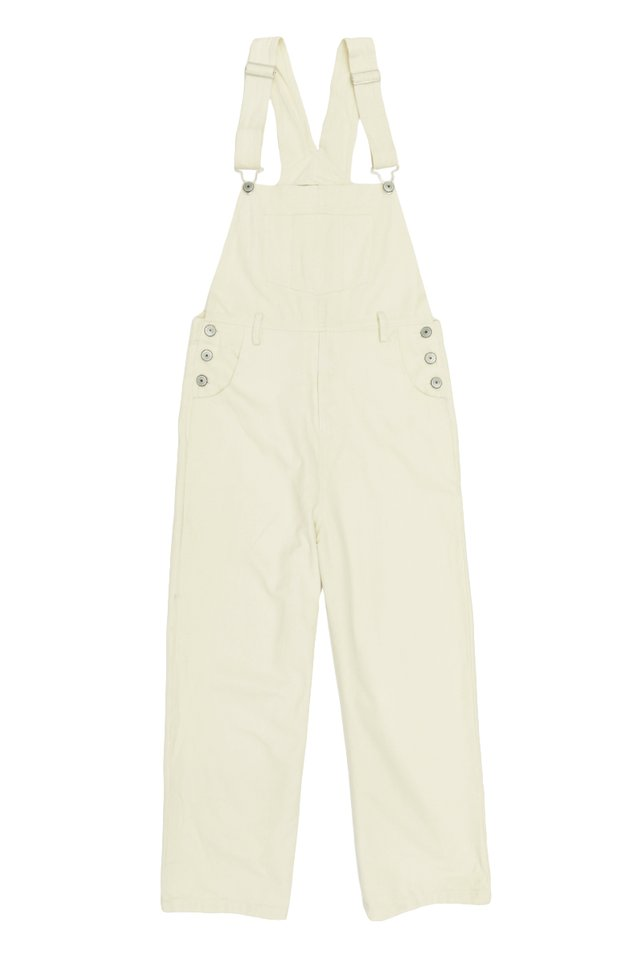 ASHTON STRAIGHT-CUT DUNGAREES IN CREAM