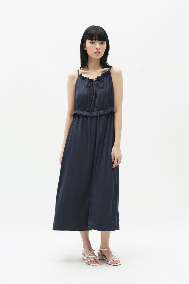 DIORA FRILL MIDI DRESS IN NAVY