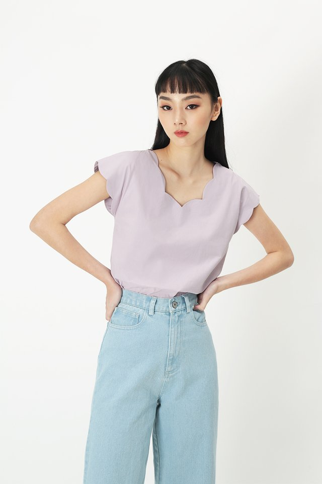 MARISE SCALLOP BLOUSE IN LAVENDER