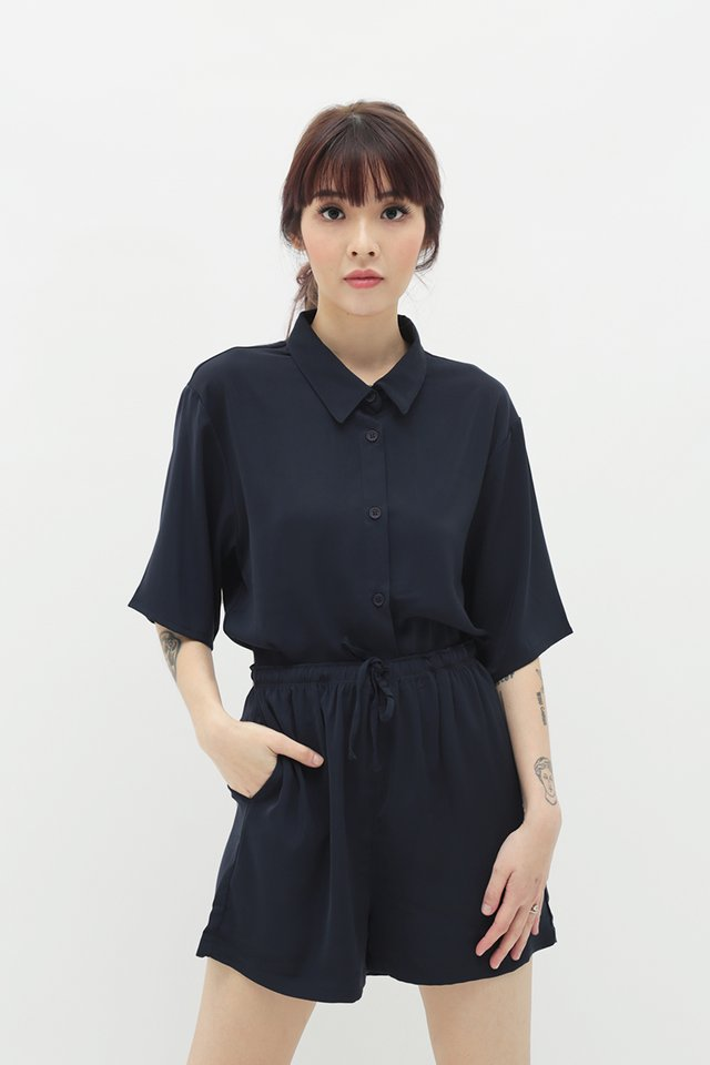 MAURIE BUTTON SHIRT IN NAVY