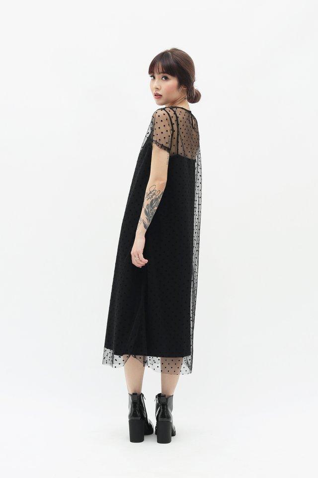 NADINE POLKADOT TULLE DRESS IN BLACK