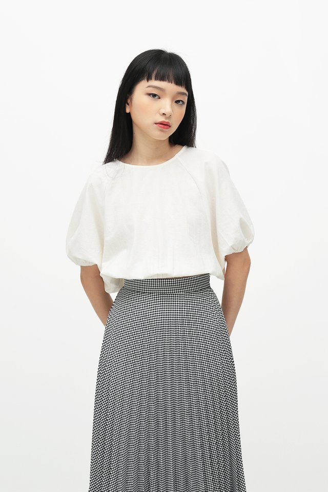 CLOUDY DAYS PUFF SLEEVE BLOUSE IN WHITE