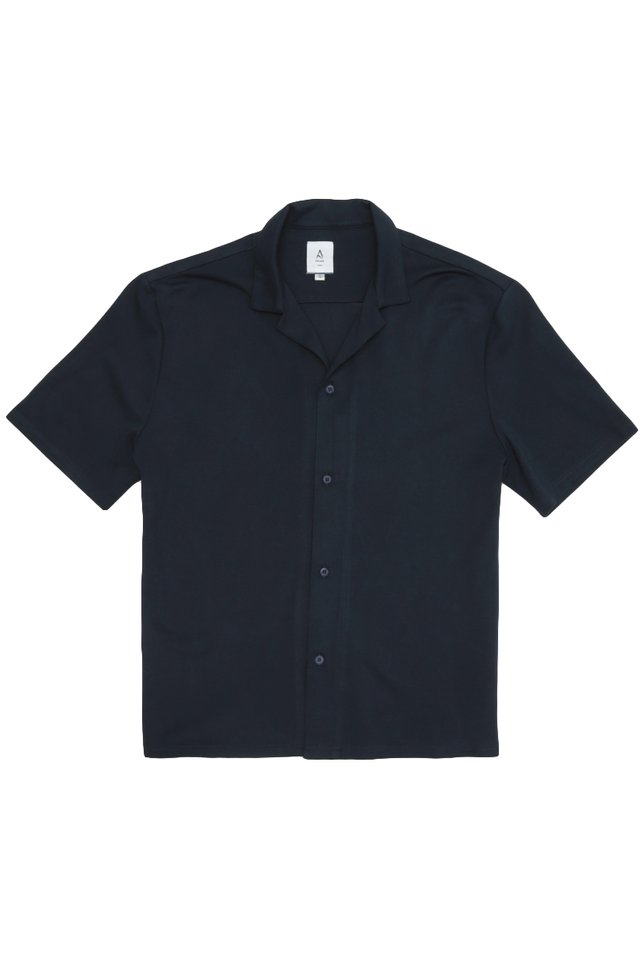 EAMON CAMP COLLAR SHIRT IN NAVY