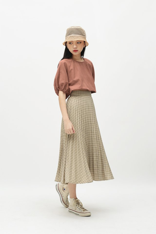 HENRIETTE CHECKERED PLEATED SKIRT IN CANARY
