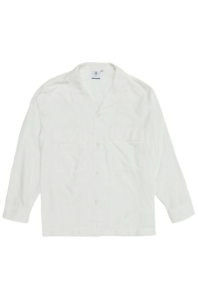 LOREN CAMP COLLAR POCKET SHIRT IN WHITE