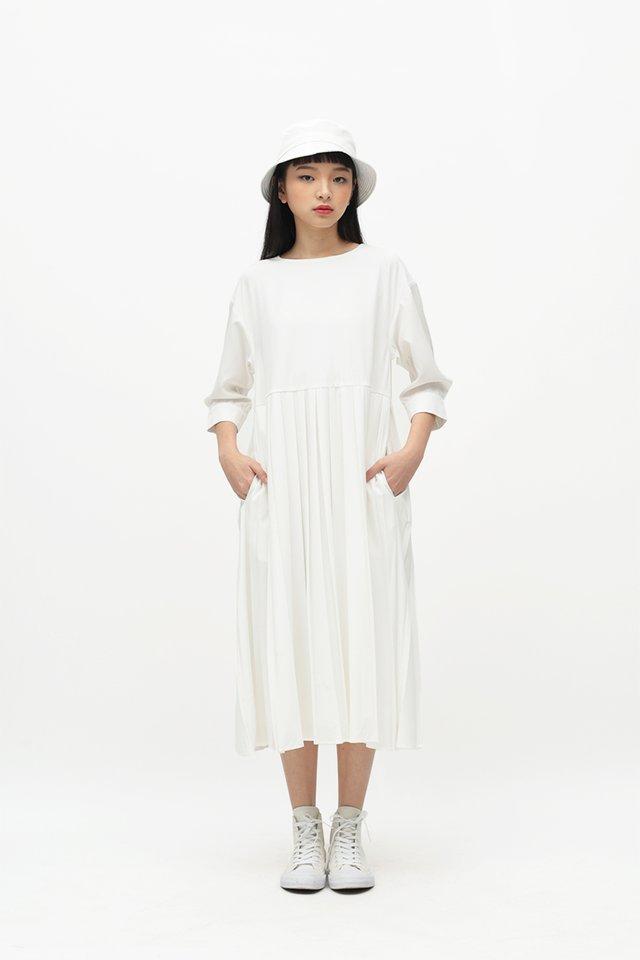 MARIANNE PLEATED MIDI DRESS IN WHITE