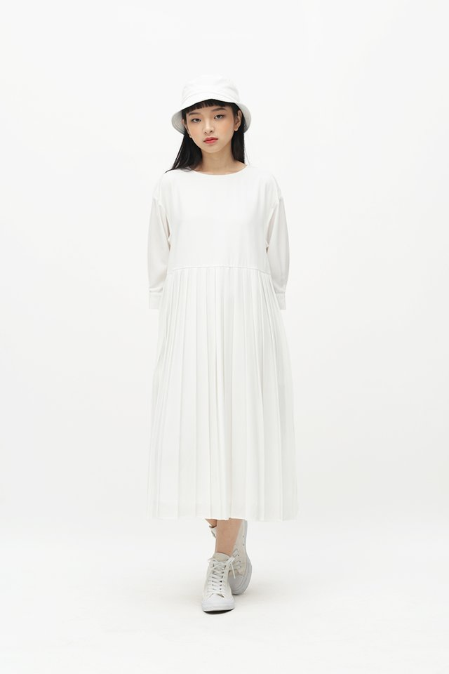 MARIANNE PLEATED MIDI DRESS IN WHITE