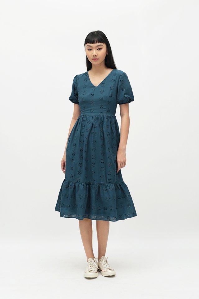 MARIGNAN EYELET DRESS IN PACIFIC BLUE