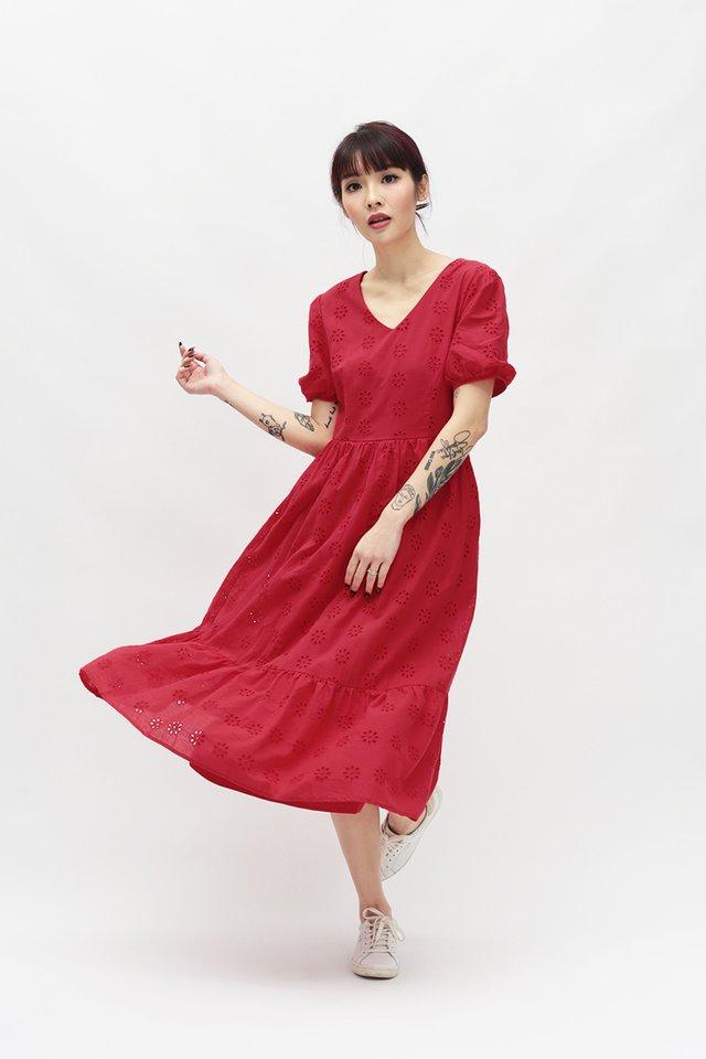 MARIGNAN EYELET DRESS IN RED