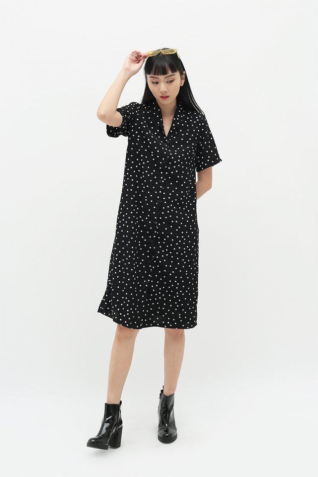 MONA POLKADOT SHIRT DRESS IN BLACK
