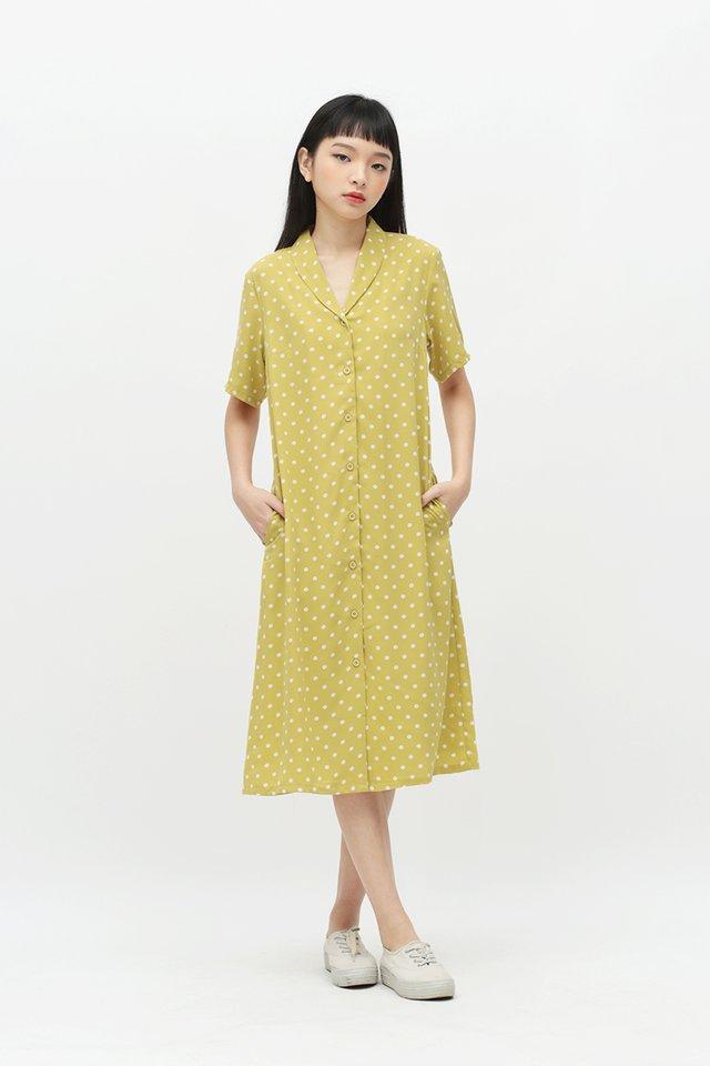 MONA POLKADOT SHIRT DRESS IN DAFFODIL
