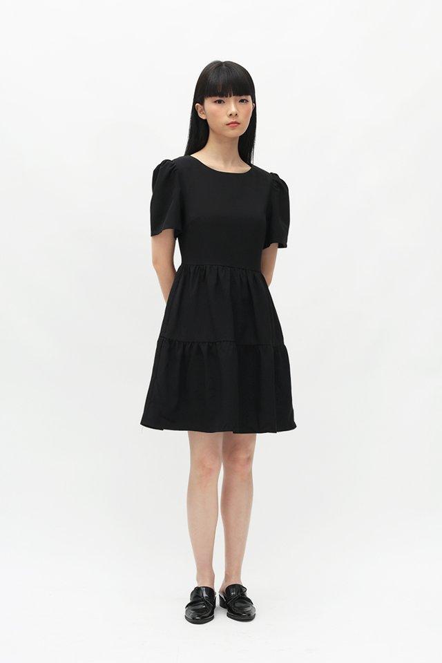 KRISTABEL TIER DRESS IN BLACK