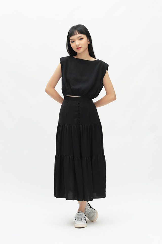 LIV RUCHED TOP IN BLACK