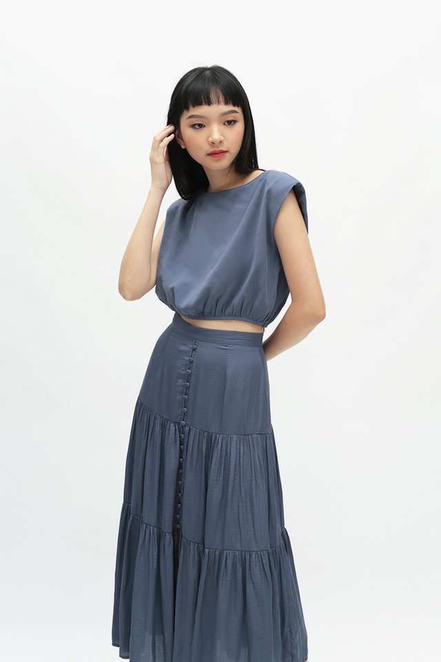 LIV RUCHED TOP IN BLUEPEA