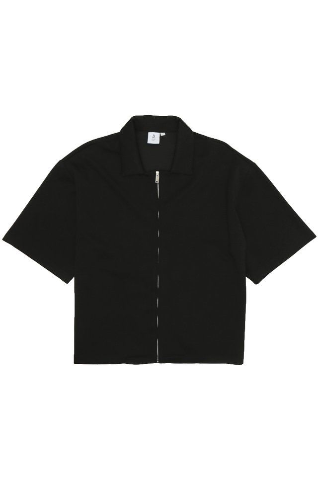 PAXTON ZIP OVERSHIRT IN BLACK