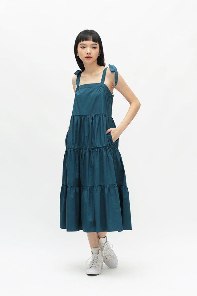 SASHA FAUX TIE TIER DRESS IN CERULEAN