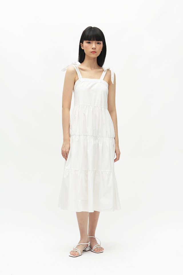SASHA FAUX TIE TIER DRESS IN WHITE